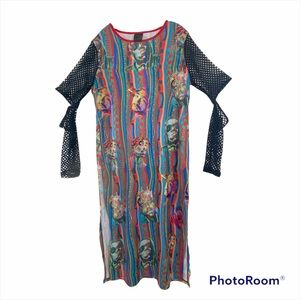 TUPAC BIGGIE SMALLS faux coogie style colorful net top tunic